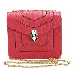 Faux Leather Chain Geometric Crossbody Bag -
