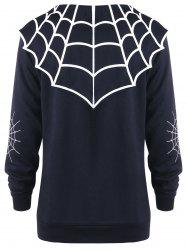Halloween Plus Size Spider Web Monochrome Coat -