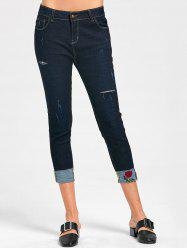Rose Embroidery Ripped Capri Jeans - MIDNIGHT M