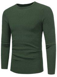 High Stretchy Crew Neck Textured Sweater -