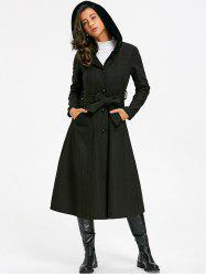 Longline Hooded Flare Coat with Tie Belt -
