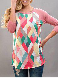Round Neck Geometric Printed T-shirt -
