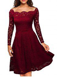 Slash Neck Semi Formal Lace Dress - Rouge vineux  L