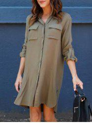 Front Pockets Side Slit Shirt Dress - ARMY GREEN M