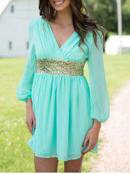 Chiffon Surplice Dress with Sequin - TURQUOISE L