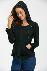 Drawstring Ring Embellished Zip Up Hoodie -