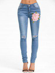 Flower Embroidery Distressed Denim Cuffed Jeans - DENIM BLUE S