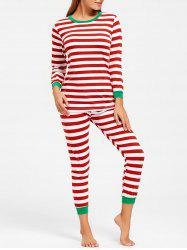 Striped T Shirt with Pants Christmas Pajama Set - COLORMIX L