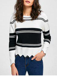 Drop Shoulder Asymmetric Trim Sweater -