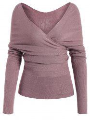 Low Cut Surplice Knitted Top - PINKISH PURPLE L