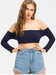 Off The Shoulder Crop Knit Top - PURPLISH BLUE M