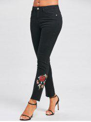 Floral Embroidery Skinny Jeans - BLACK S