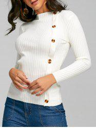 Side Button Up Knit Ribbed Sweater -