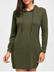 Draswtring Long Sleeve Hooded Dress -