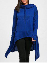 Oversized Drawstring High Low Long Hoodie -