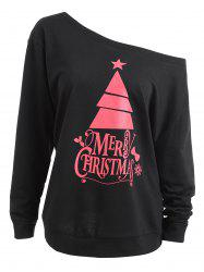 Plus Size Skew Neck Cute Christmas Tree Sweatshirt -