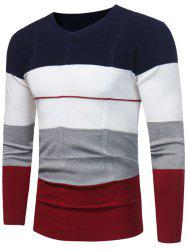 Color Block V Neck Jumper -