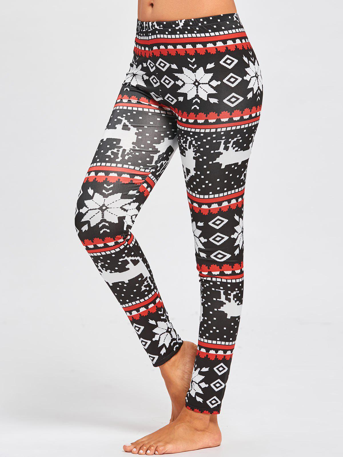 Christmas Snowflake ELK Printed Slim LeggingsWOMEN<br><br>Size: M; Color: FLORAL; Style: Fashion; Length: Ninth; Material: Polyester; Fit Type: Skinny; Waist Type: Mid; Closure Type: Elastic Waist; Pattern Type: Print; Pant Style: Pencil Pants; Weight: 0.2200kg; Package Contents: 1 x Leggings;