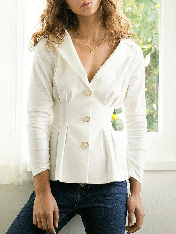 Affordable Lapel Button Up Waisted Blazer