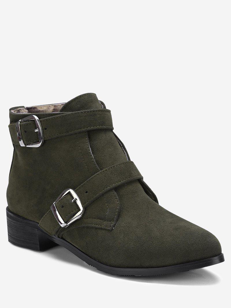 Chic Ankle Stitching Buckle Strap Boots
