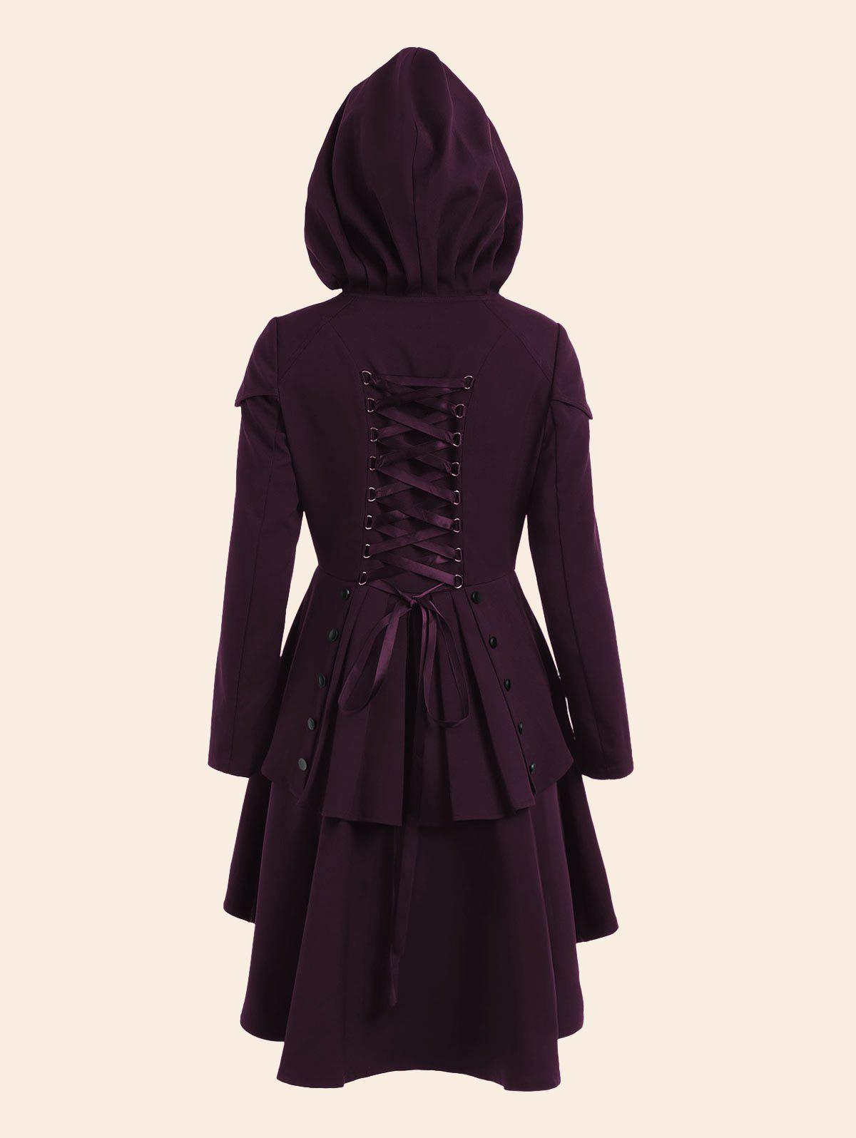 Lace Up High Low Plus Size Hooded CoatWOMEN<br><br>Size: 4XL; Color: PURPLISH RED; Clothes Type: Others; Material: Polyester; Type: High Waist; Shirt Length: Regular; Sleeve Length: Full; Collar: Hooded; Closure Type: Single Breasted; Pattern Type: Solid; Embellishment: Criss-Cross; Style: Gothic; Season: Fall,Spring; With Belt: No; Weight: 0.7500kg; Package Contents: 1 x Coat;