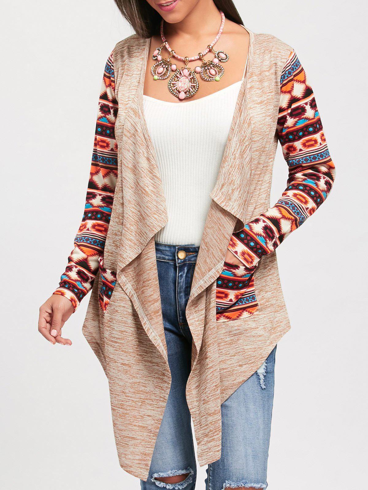 Ethnic Print Long Sleeve Draped CardiganWOMEN<br><br>Size: L; Color: COLORMIX; Type: Cardigans; Material: Polyester,Spandex; Sleeve Length: Full; Collar: Collarless; Style: Casual; Pattern Type: Print; Season: Fall,Spring,Summer; Elasticity: Micro-elastic; Weight: 0.3000kg; Package Contents: 1 x Cardigan;
