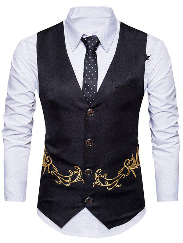 Unique Single Breasted Belt Embroidered Waistcoat