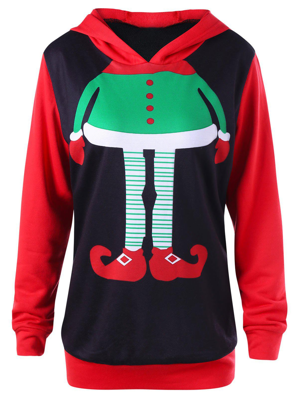 Plus Size Christmas Cartoon Printed HoodieWOMEN<br><br>Size: 5XL; Color: COLORMIX; Material: Polyester,Spandex; Shirt Length: Regular; Sleeve Length: Full; Style: Novelty; Pattern Style: Print; Season: Fall,Spring; Weight: 0.4600kg; Package Contents: 1 x Hoodie;
