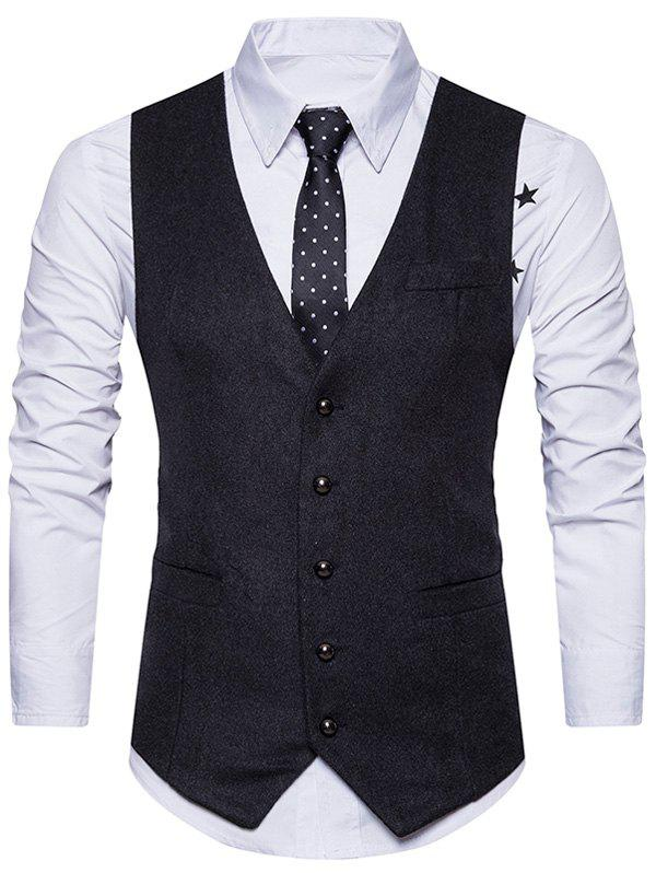 Ceinture Design V Neck Button Up Gilet
