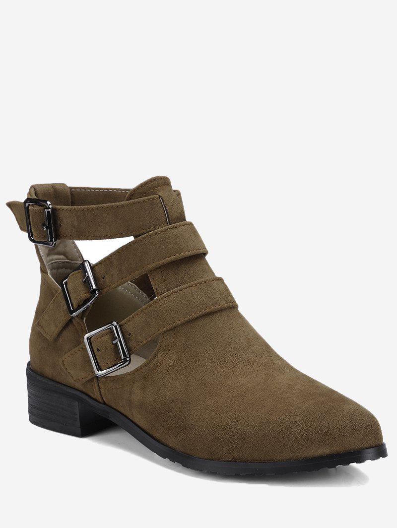 Chic Ankle Buckle Strap Hollow Out Boots