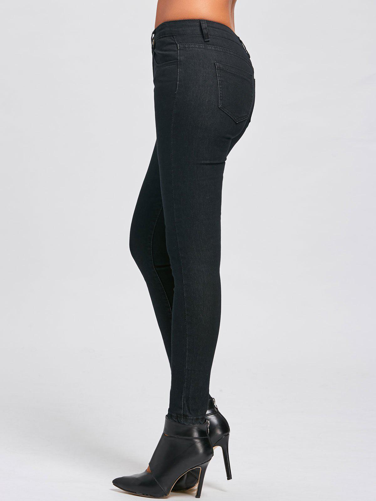 Skinny High Waist JeansWOMEN<br><br>Size: L; Color: BLACK; Material: Polyester; Length: Ninth; Wash: Dark; Fit Type: Skinny; Weight: 0.4200kg; Package Contents: 1 x  Jeans;
