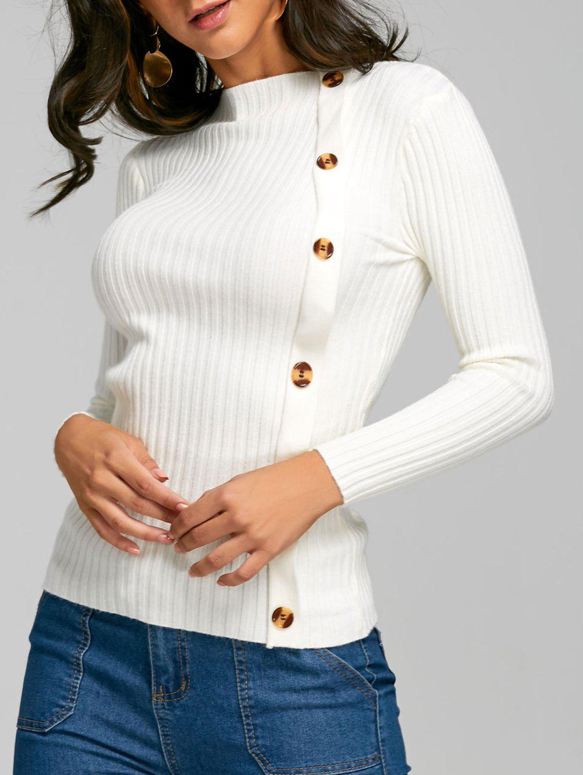 Chic Side Button Up Knit Ribbed Sweater