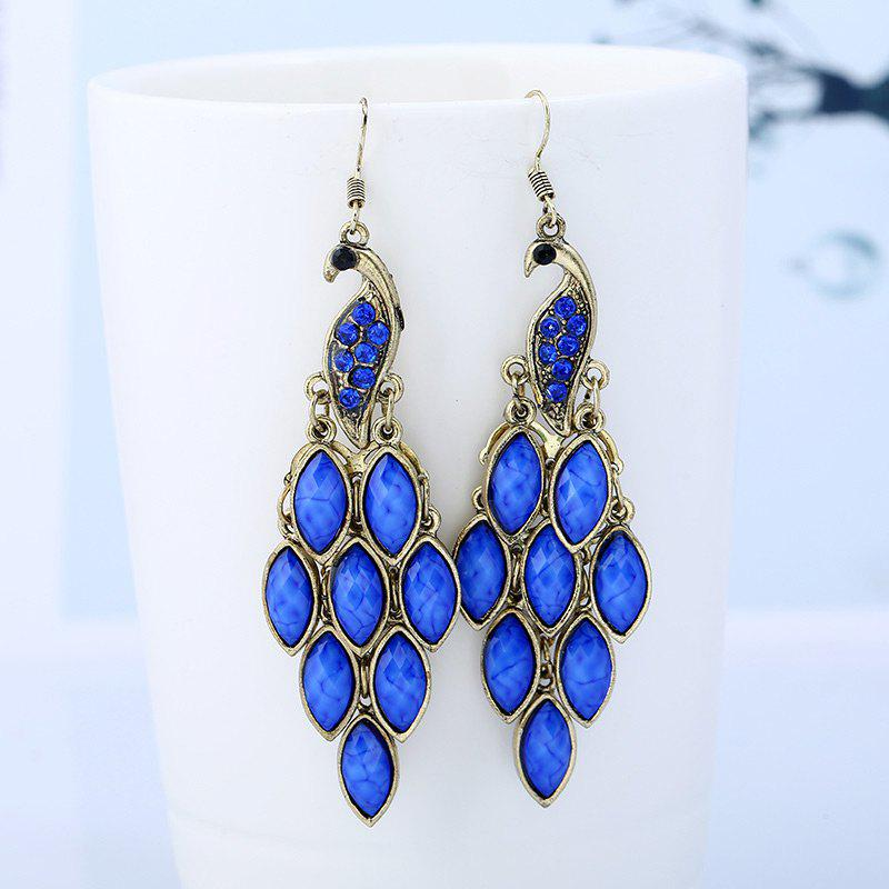 Peacock Shape Fish Hook EarringsJEWELRY<br><br>Color: BLUE; Earring Type: Drop Earrings; Gender: For Girls,For Women; Metal Type: Alloy; Style: Noble and Elegant; Shape/Pattern: Animal; Length: 6.5CM; Weight: 0.0500kg; Package Contents: 1 x Earrings(Pair);