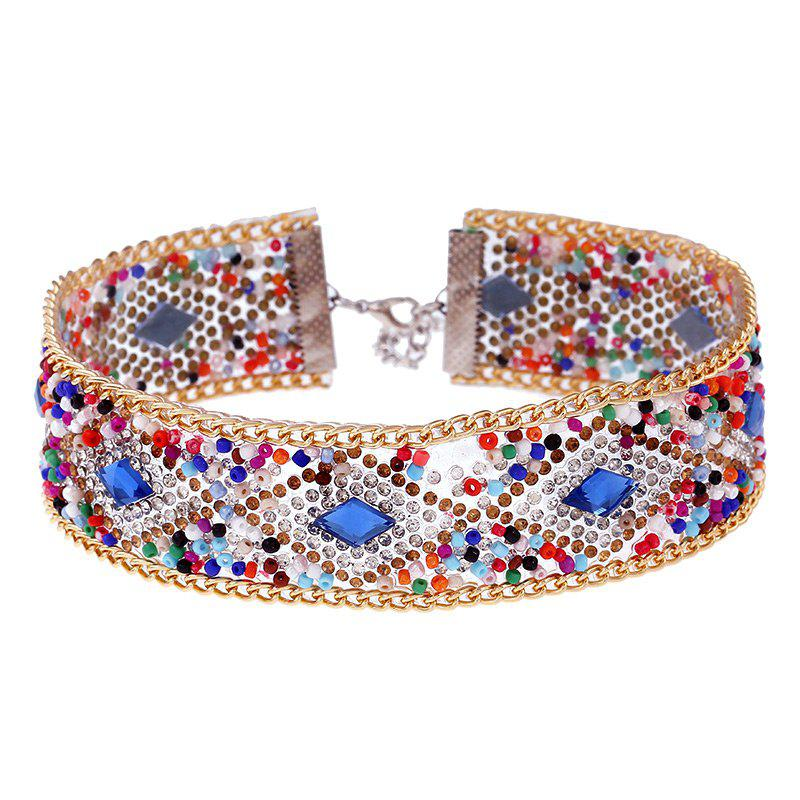 Rhinestones Colorful Wide ChokerJEWELRY<br><br>Color: COLORMIX; Item Type: Chokers Necklace; Gender: For Women; Material: Rhinestone; Metal Type: Alloy; Style: Trendy; Shape/Pattern: Geometric; Length: 30CM+Chain Extender: 7CM; Weight: 0.0600kg; Package Contents: 1 x Necklace;