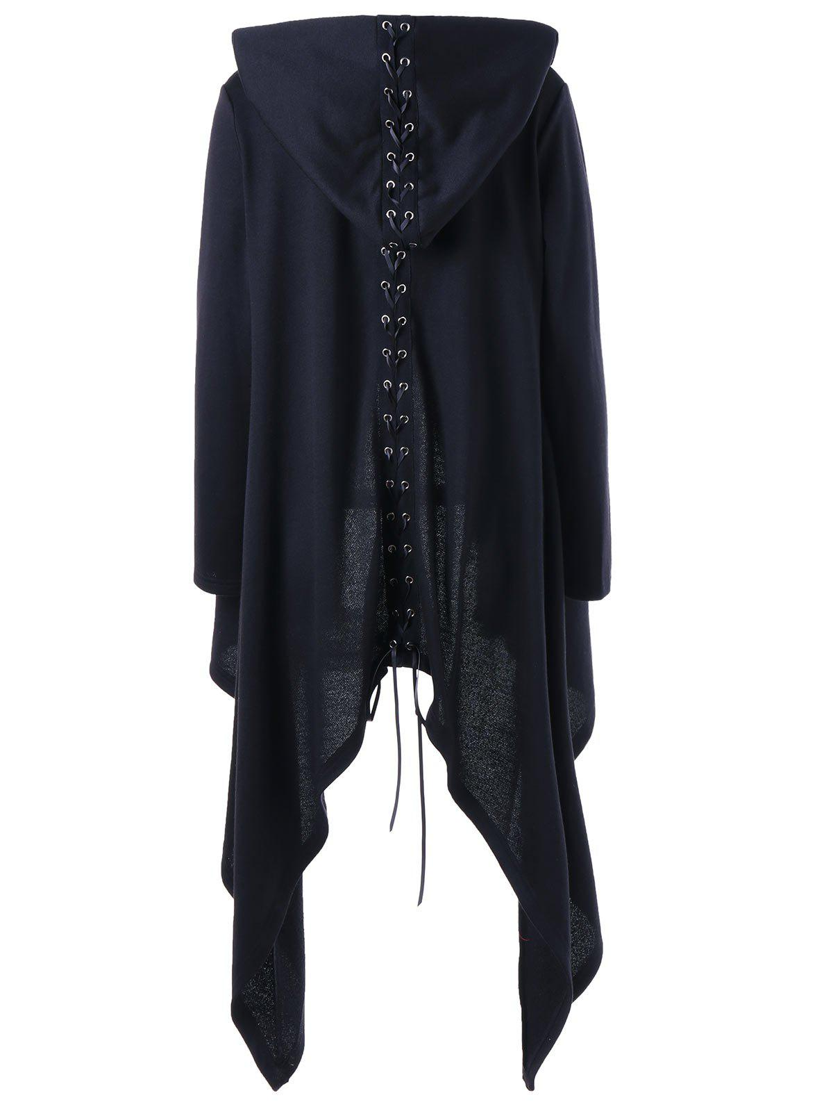 Lace Up Hooded Asymmetrical Plus Size CoatWOMEN<br><br>Size: 5XL; Color: BLACK; Clothes Type: Others; Material: Polyester; Type: Slim; Shirt Length: Long; Sleeve Length: Full; Collar: Hooded; Pattern Type: Solid; Embellishment: Criss-Cross,Draped; Style: Fashion; Season: Fall,Spring; Weight: 0.8260kg; Package Contents: 1 x Coat;