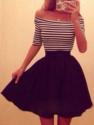 New Half Sleeves Stripe Off The Shoulder Dress