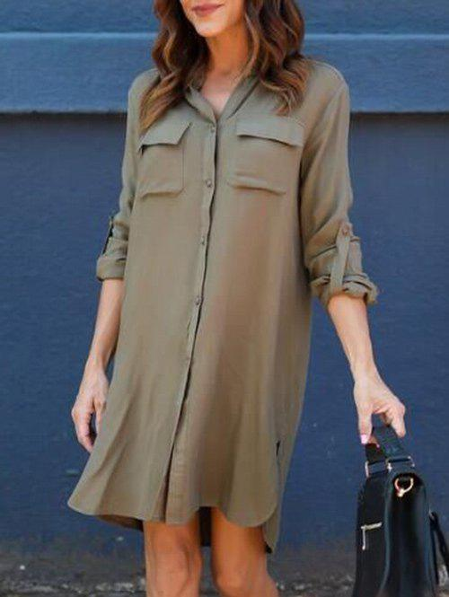 Sale Front Pockets Side Slit Shirt Dress