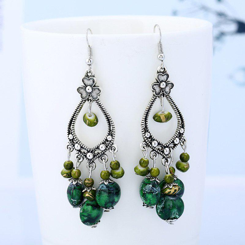 Beaded Tassel Bohemia Flower Design Dangle EarringsJEWELRY<br><br>Color: GREEN; Earring Type: Drop Earrings; Gender: For Women; Metal Type: Alloy; Style: Classic; Shape/Pattern: Floral,Tassel; Length: 6cm; Weight: 0.0018kg; Package Contents: 1 x Earring(Pair);