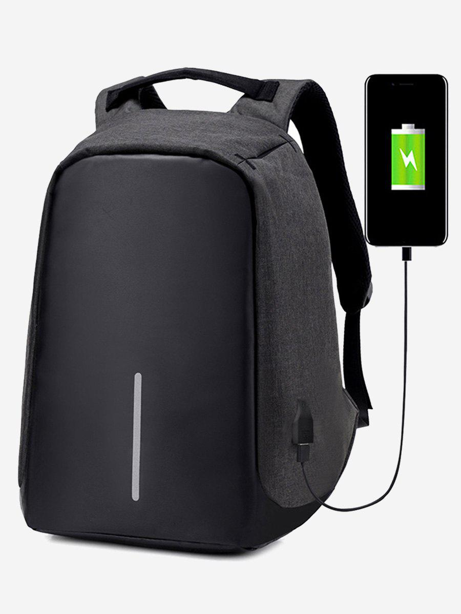 Straight Line USB Charging Port School BackpackSHOES &amp; BAGS<br><br>Color: BLACK; Backpack Usage: Daily Backpack; Backpacks Type: Softback; Pattern Type: Others; Main Material: Polyester; Gender: For Men; Weight: 1.2000kg; Package Contents: 1 x Backpack; Length: 26CM; Width: 11CM; Height: 43CM;