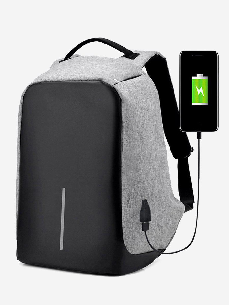 Straight Line USB Charging Port School BackpackSHOES &amp; BAGS<br><br>Color: GRAY; Backpack Usage: Daily Backpack; Backpacks Type: Softback; Pattern Type: Others; Main Material: Polyester; Gender: For Men; Weight: 1.2000kg; Package Contents: 1 x Backpack; Length: 26CM; Width: 11CM; Height: 43CM;