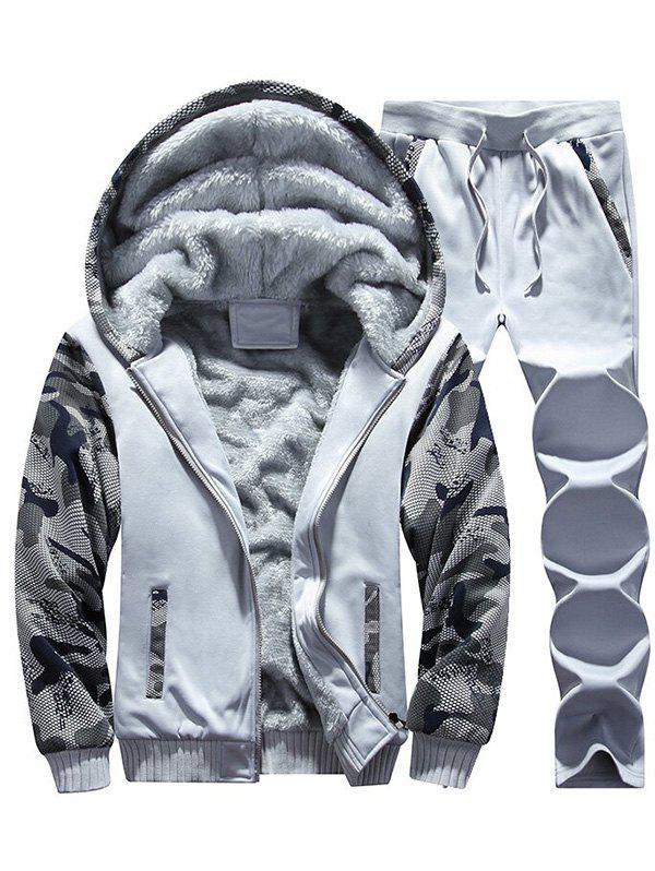 Sale Flocking Camouflage Hoodie and Sweatpants Tracksuit