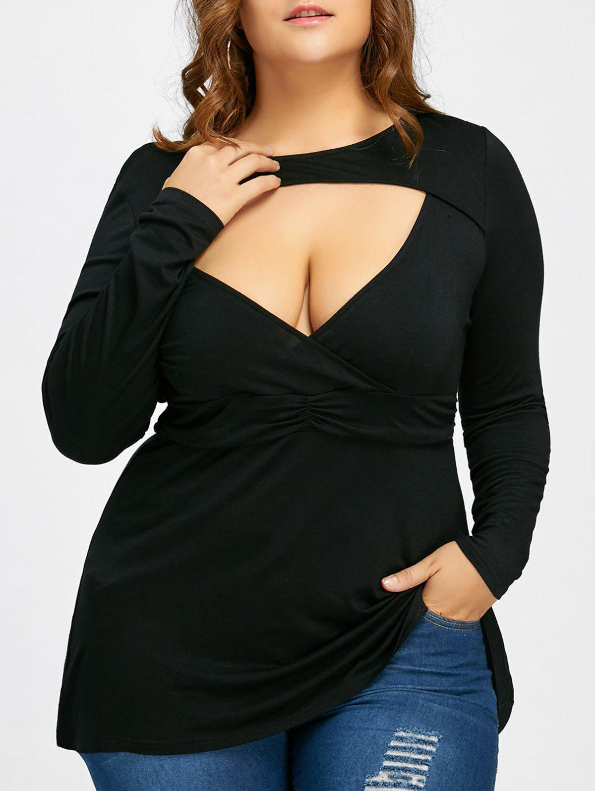 Empire Waist Plus Size Low Cut T-shirtWOMEN<br><br>Size: 3XL; Color: BLACK; Material: Cotton Blends,Spandex; Shirt Length: Long; Sleeve Length: Full; Collar: Crew Neck; Style: Fashion; Season: Fall,Spring; Pattern Type: Solid; Weight: 0.2970kg; Package Contents: 1 x T-shirt;