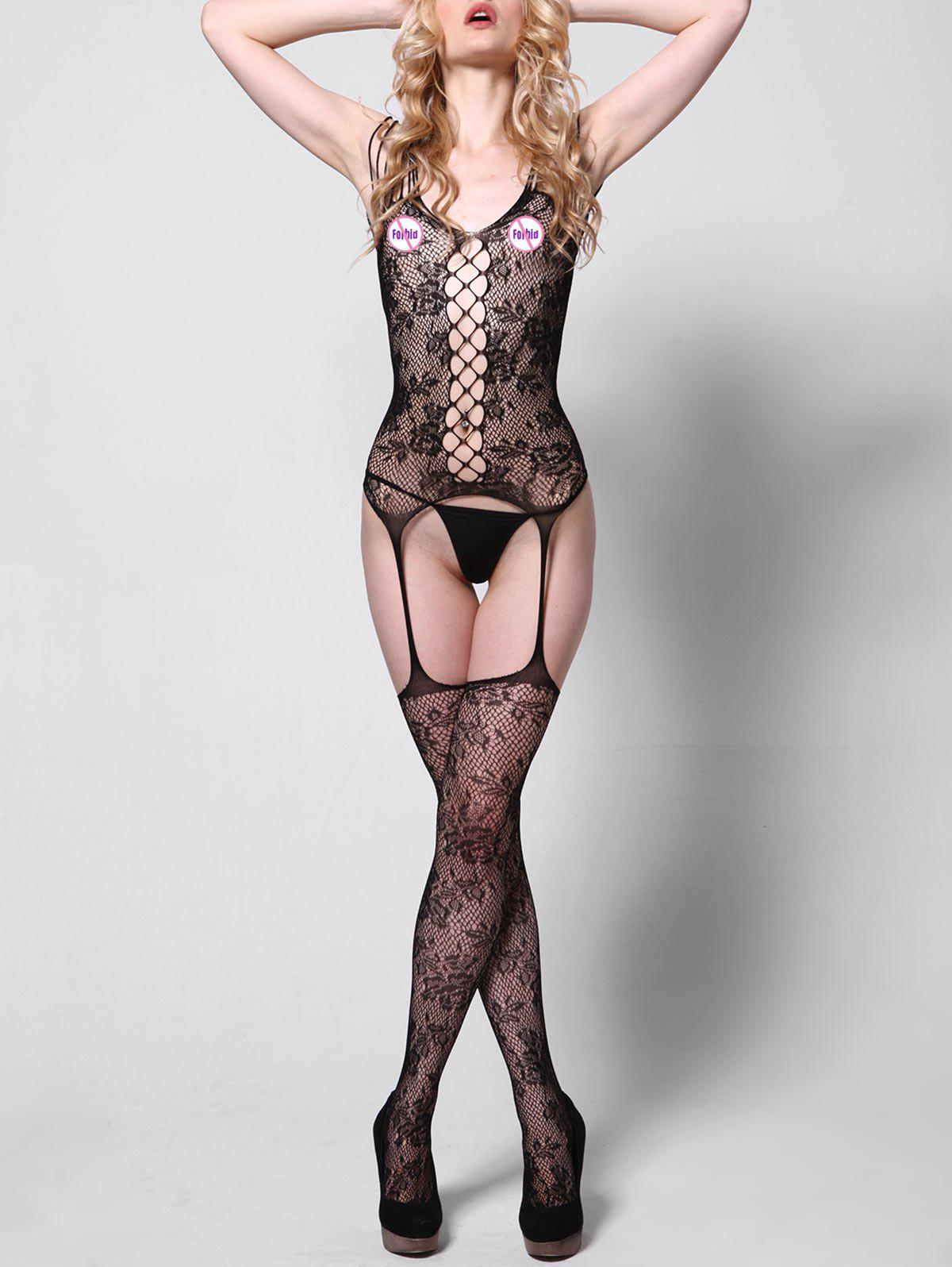 Fishnet See Thru Garter BodystockingWOMEN<br><br>Size: ONE SIZE; Color: BLACK; Material: Polyester; Pattern Type: Solid; Embellishment: Hollow Out; Weight: 0.1400kg; Package Contents: 1 x Bodystocking;