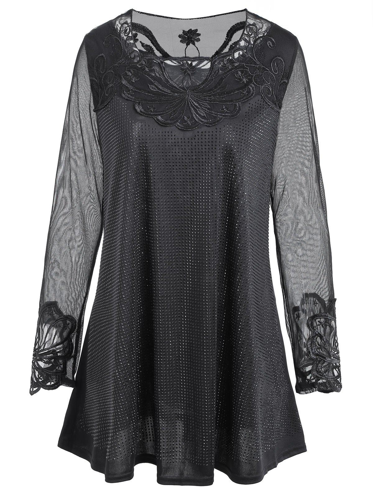 Plus Size Lace Mesh Panel Rhinestone BlouseWOMEN<br><br>Size: 5XL; Color: BLACK; Material: Cotton,Polyester; Shirt Length: Regular; Sleeve Length: Full; Collar: Round Neck; Style: Fashion; Season: Fall,Spring; Embellishment: Lace,Rhinestone,See Thru; Pattern Type: Solid; Weight: 0.3400kg; Package Contents: 1 x Blouse;