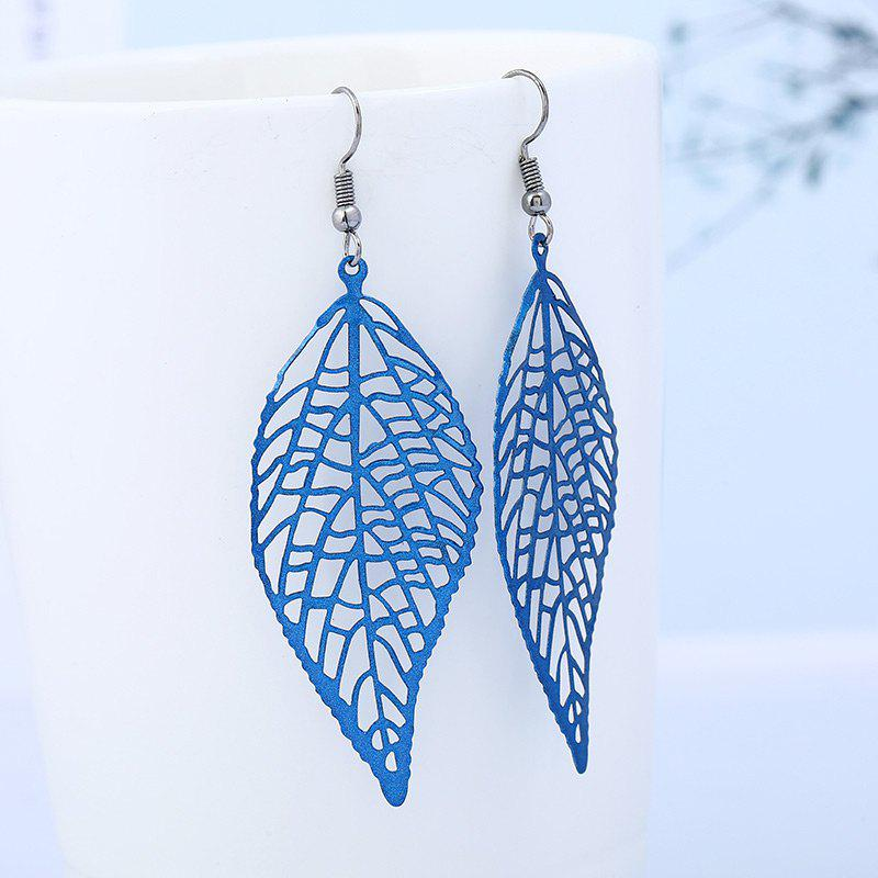 Hollow Leaf Design Hook EarringsJEWELRY<br><br>Color: BLUE; Earring Type: Drop Earrings; Gender: For Girls,For Women; Style: Fresh Style; Shape/Pattern: Others; Length: 6cm; Weight: 0.0080kg; Package Contents: 1 x Earring(Pair);