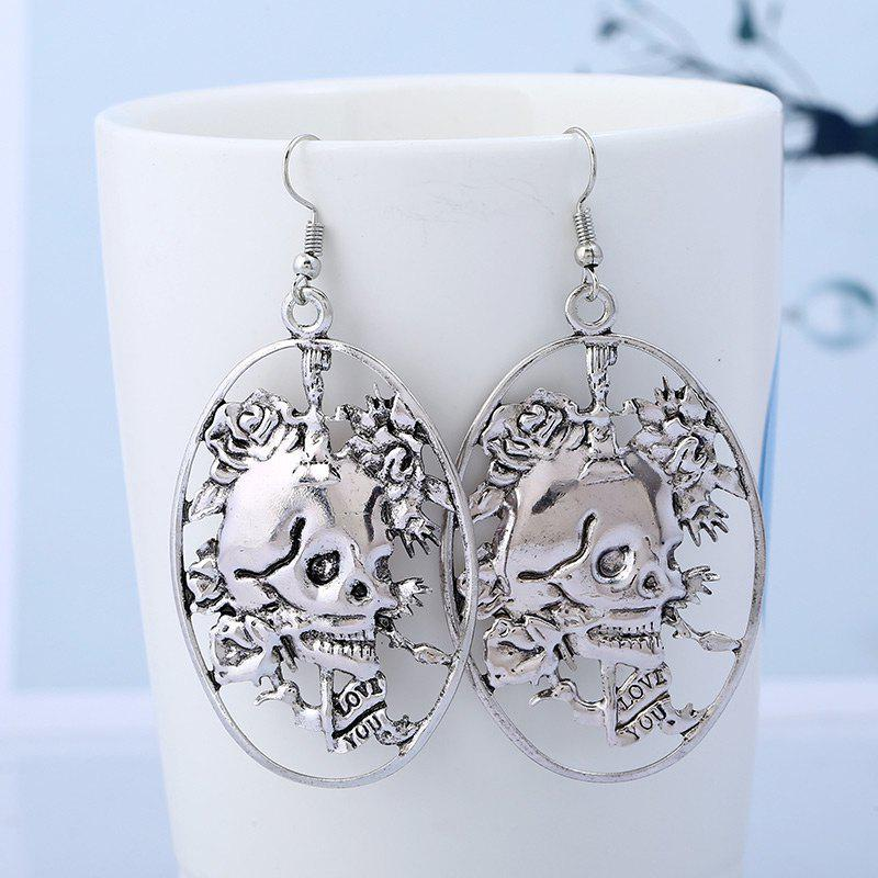 Round Oval Skull Geometric Hook EarringsJEWELRY<br><br>Color: SILVER; Earring Type: Drop Earrings; Gender: For Girls,For Women; Metal Type: Others; Style: Trendy; Shape/Pattern: Skeleton,Skull; Length: 5.7cm; Weight: 0.0120kg; Package Contents: 1 x Earring(Pair);