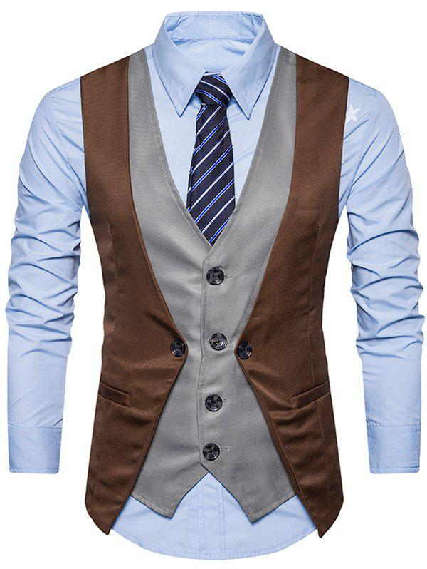 Cheap Single Breasted Color Block Faux Twinset Waistcoat