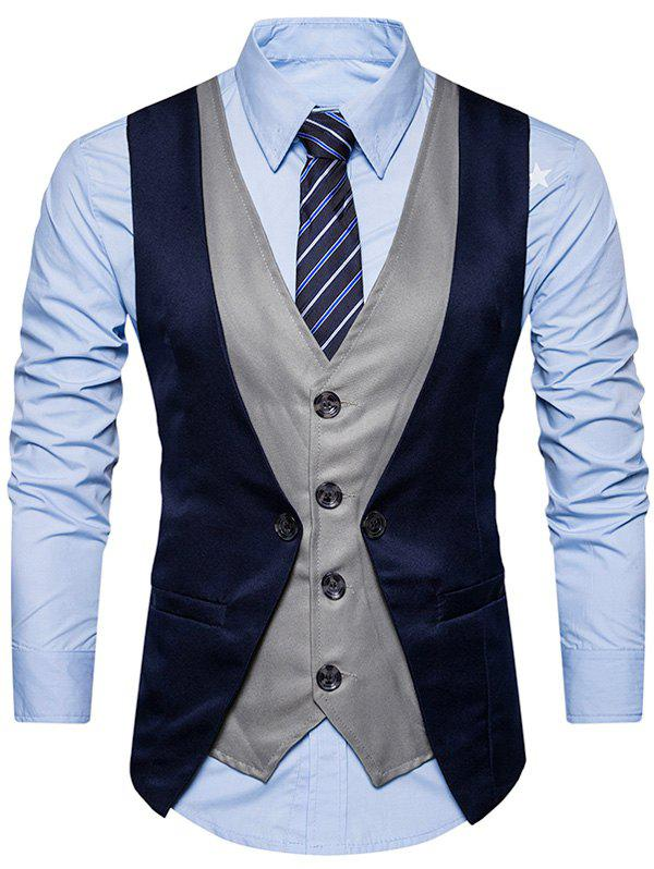 Fancy Single Breasted Color Block Faux Twinset Waistcoat