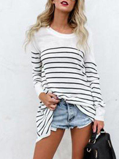 Shops Long Sleeve Round Neck Striped Pullover T-shirt