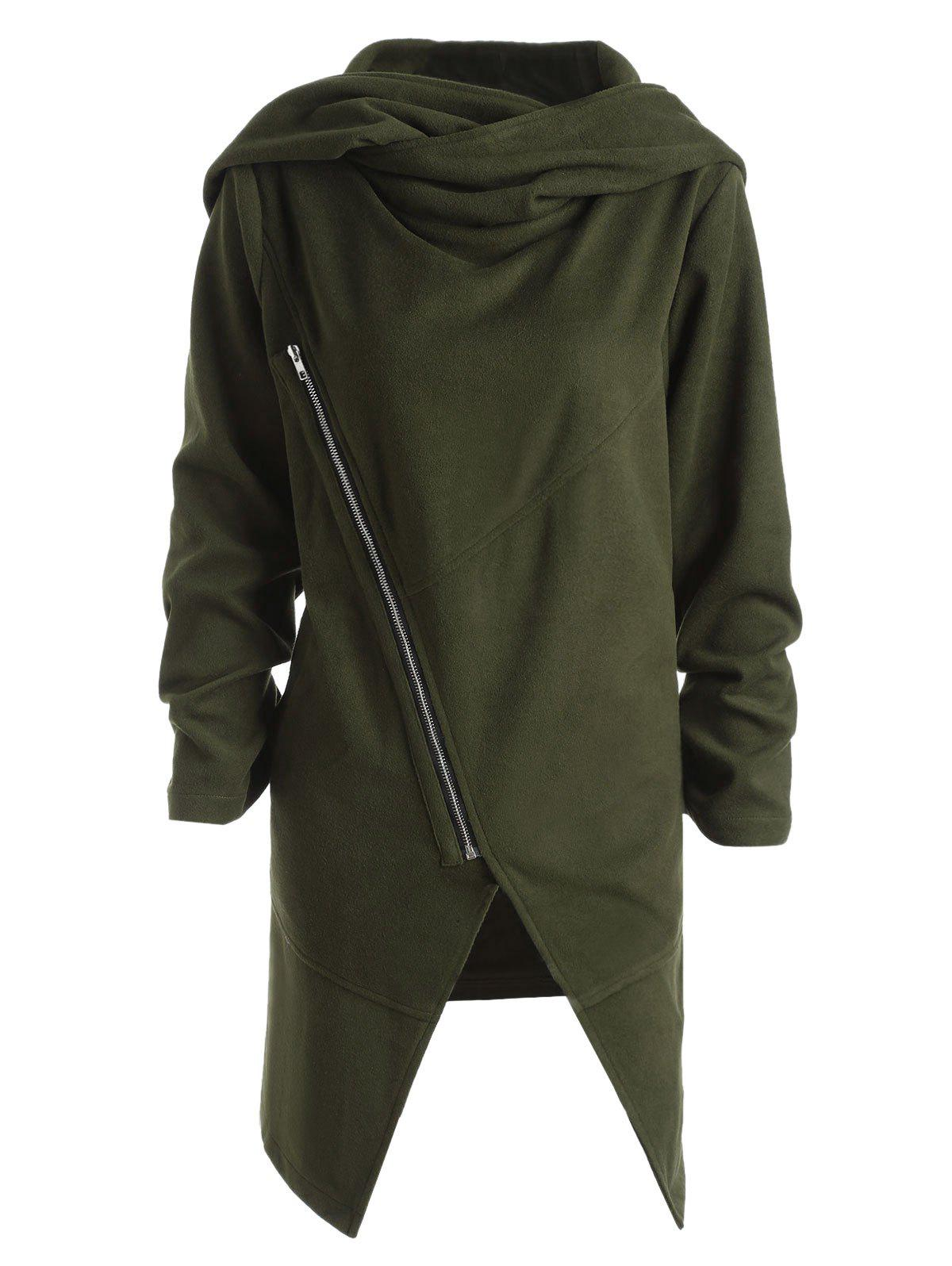 Plus Size Wool Blend Hooded Front Slit CoatWOMEN<br><br>Size: 2XL; Color: ARMY GREEN; Clothes Type: Wool &amp; Blends; Material: Cotton,Polyester,Wool; Type: Asymmetric Length; Shirt Length: Long; Sleeve Length: Full; Collar: Hooded; Pattern Type: Solid; Embellishment: Zippers; Style: Fashion; Season: Fall; With Belt: No; Weight: 0.9000kg; Package Contents: 1 x Coat;